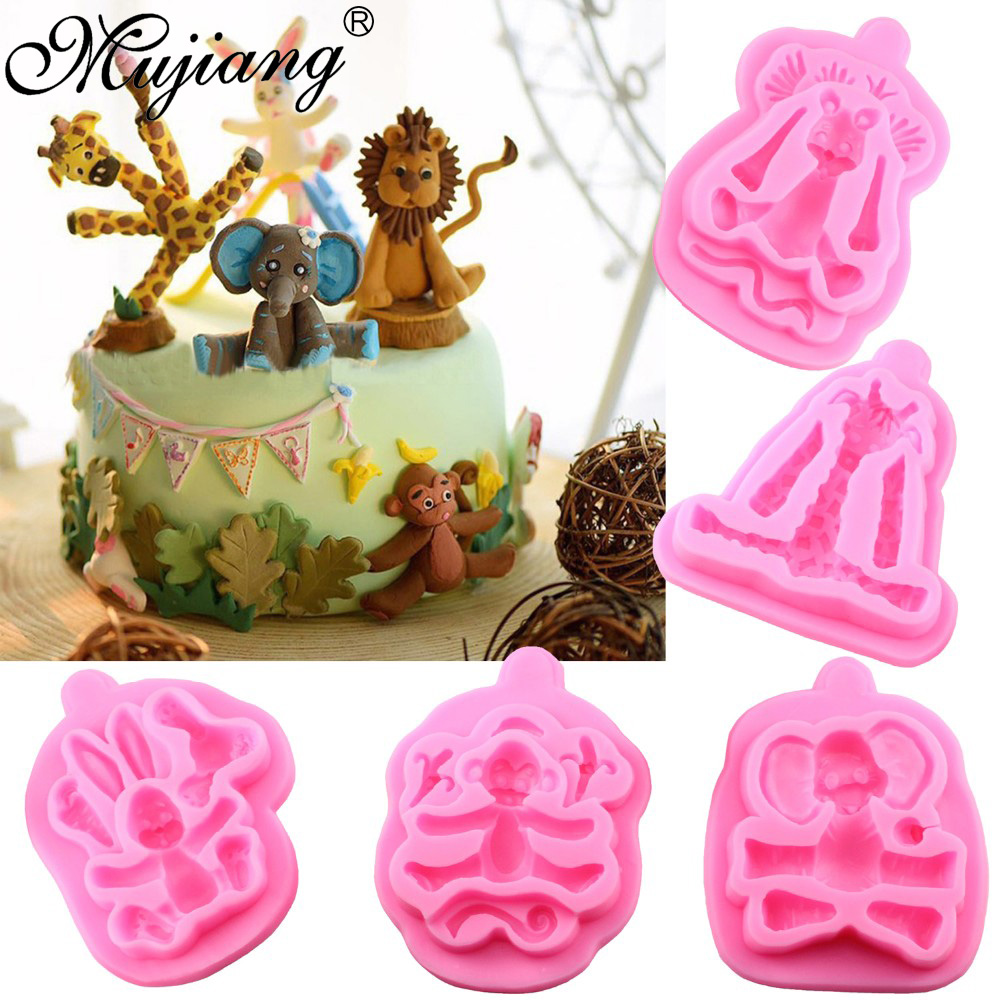 Cake Decorating Animal Molds : Mujiang Animal Molds Silicone Fondant Cake Decorating ...