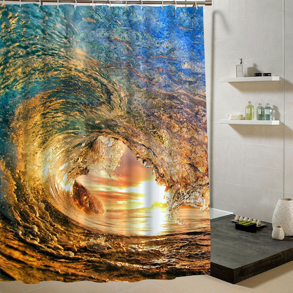 Ocean Big Wave Yellow Shower Curtain For Who Love Beach Fabric 3d Summer Bathroom Decorative Liner Wateproof Mold Polyester Free In Curtains From