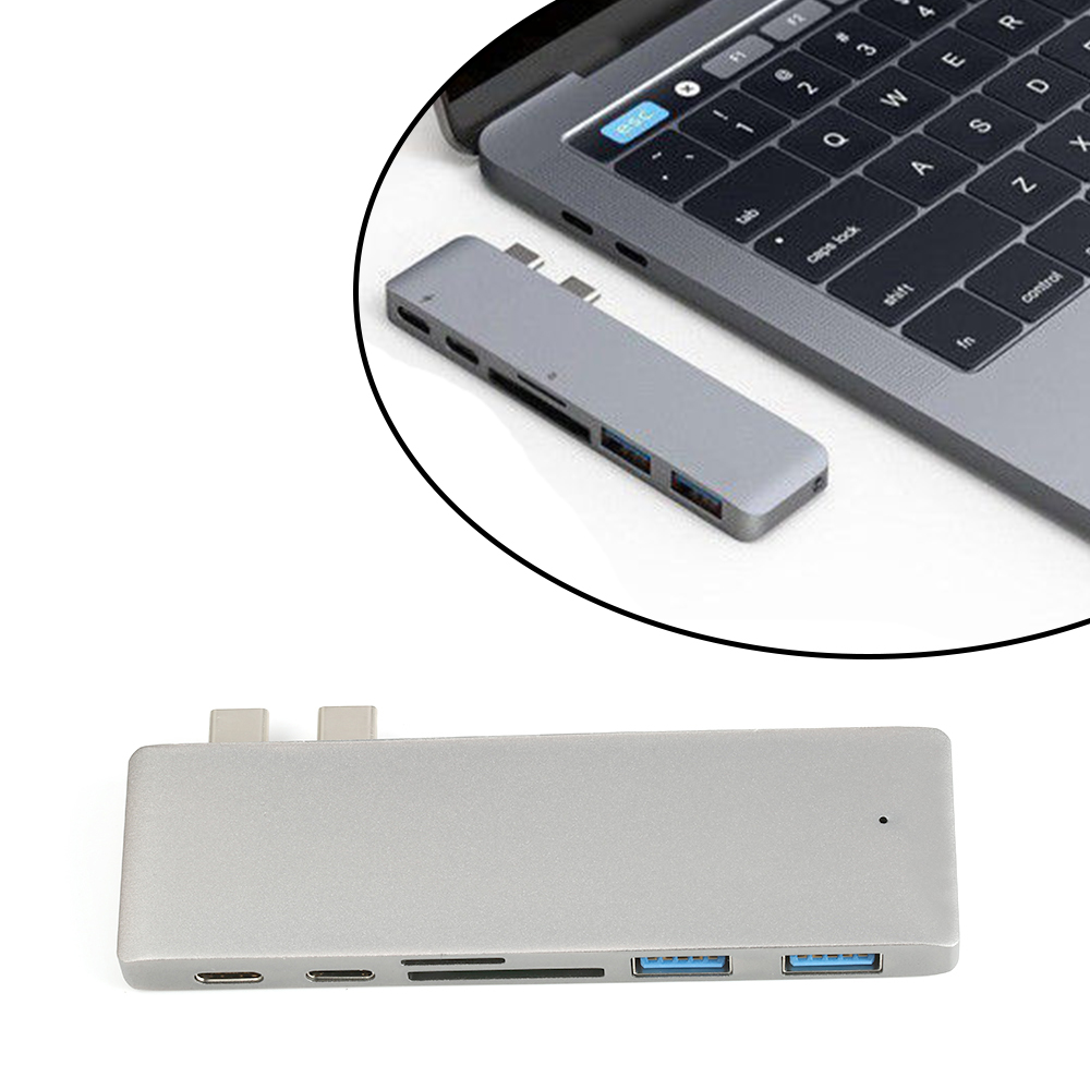 Dual Type C Port 6 In 1 Adapter HUB to HDMI USB PD Charger + Reader Splitter For Macbook Pro Mac PC Laptop Accessories & Parts