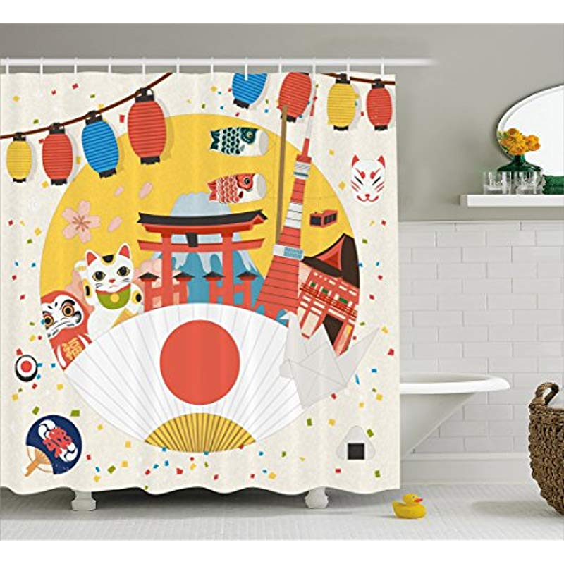 vixm lantern shower curtain japanese inspired commercial