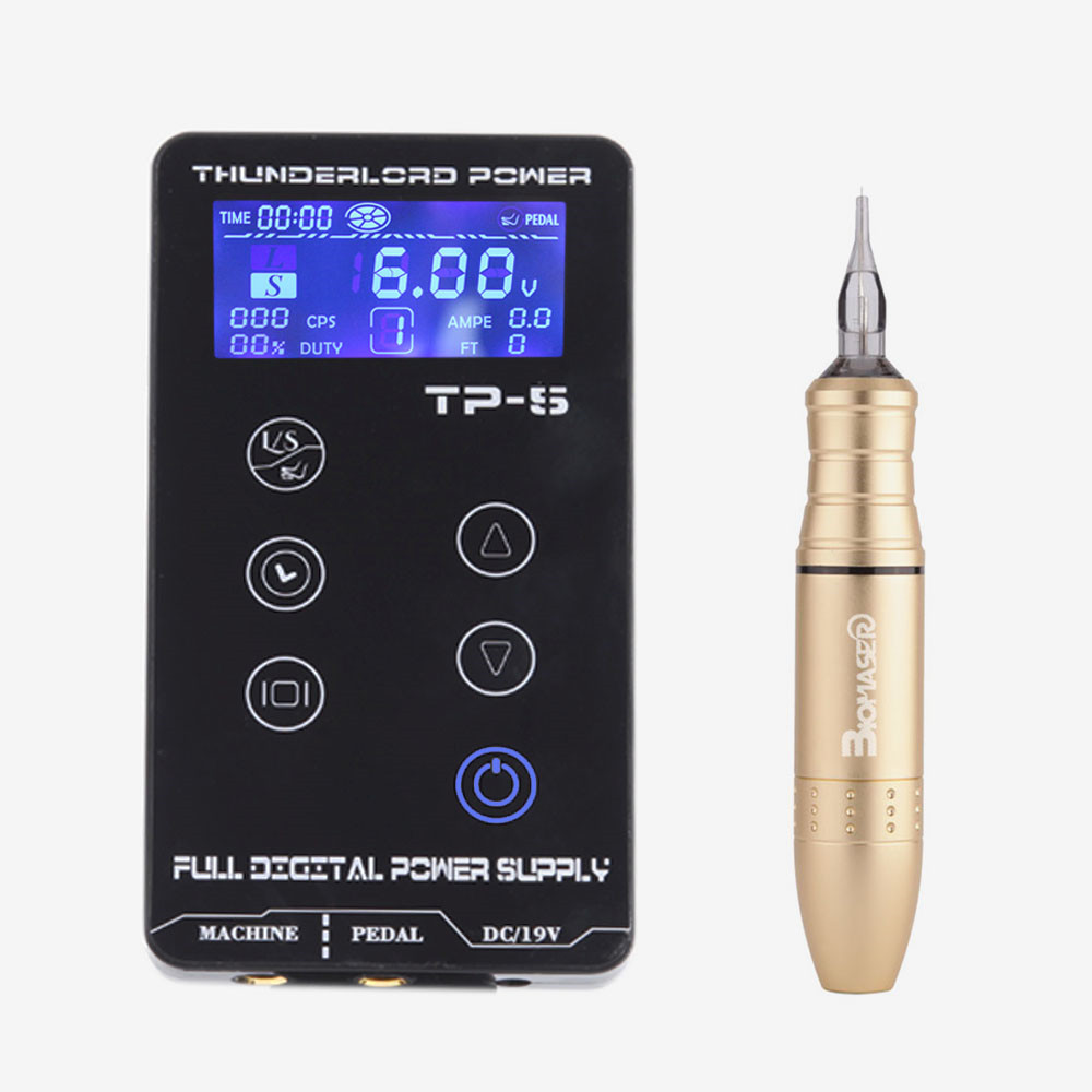 цена на BIOMASER Professional TP-5 Power Supply Tattoo Kits Rotary Gun LCD Tattoo Power Supply Tattoo Pen Machine Set