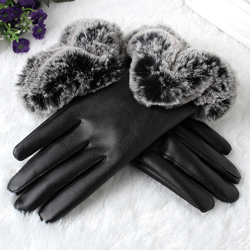 BONJEAN Winter Warm Mitten Women PU Leather faux Rabbit Fur line Female red Gloves Causal Wrist touchscreen Fitness Gloves black