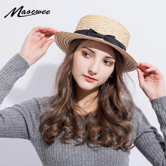 654425aaabdaa 2018 Summer Women Boater Beach Hat Female Casual Panama Hat Lady Brand  Classic Bowknot Straw Flat Sun Hat Women Fedora
