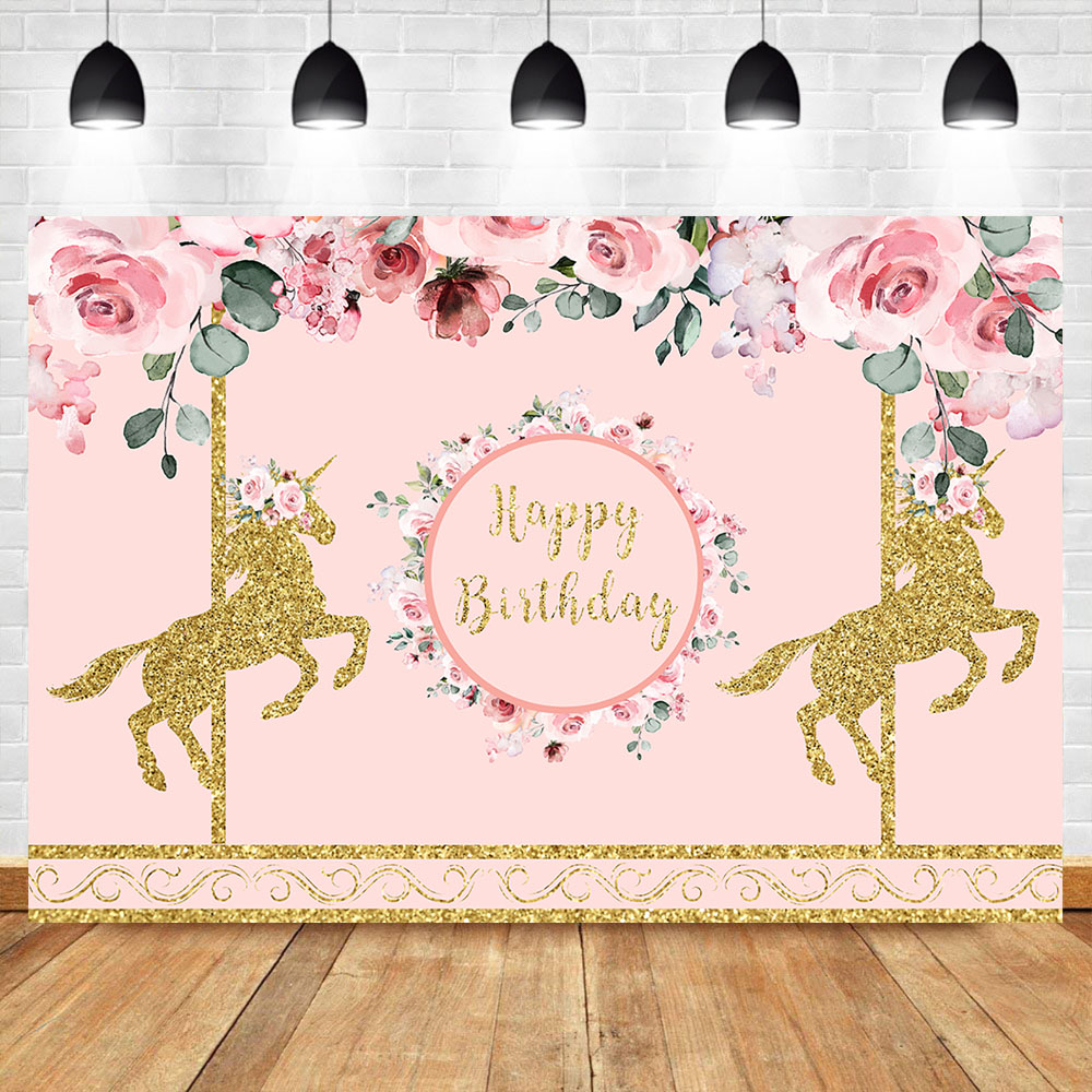 NeoBack Pink Flower Gold Unincorn Backdrop Unicorn Baby Shower Photography Background Birthday Party Banner Backdrops