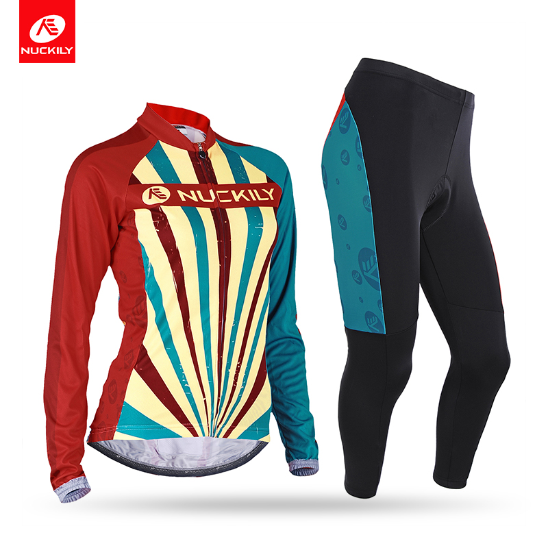 NUCKILY Spring/Autumn Cycling Clothing Women Beautiful Long Sleeve Bicycle Jersey and Foam Pad Tights Sets CJ129CK129