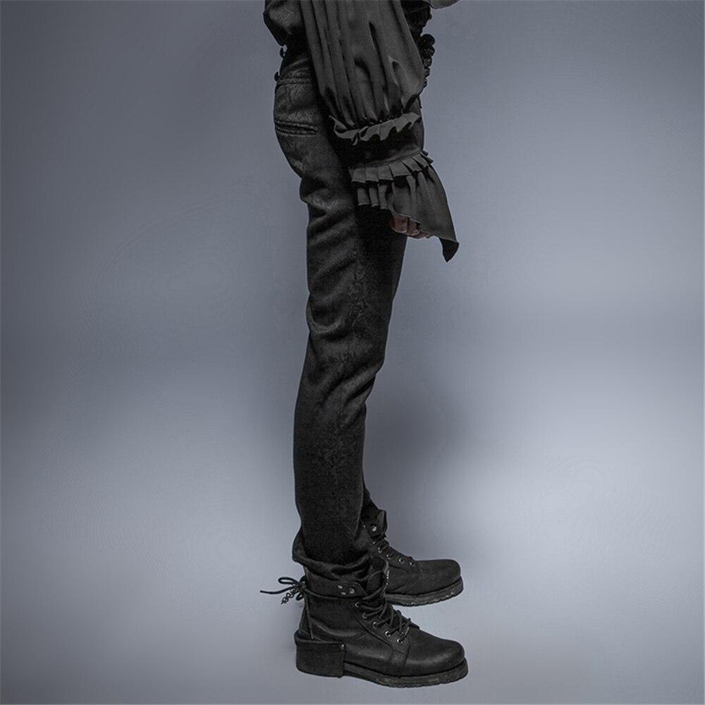 Mince Pieds Bouton Coton Plaque Robe Vintage Gothique Jacquard Homme Formelle Pantalon Punk QsdhCtr