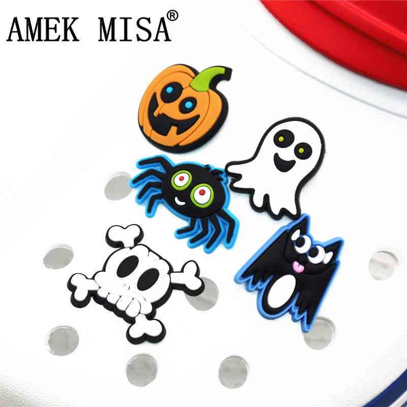 Single Sale Shoe Charms Ghost/Skeleton Shoe Accessories Pumpkin Head/Spider/Bat Shoe Decoration For Croc Jibz Kid's Party X-mas