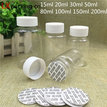 30 pcs Free Shipping 15 30 50 100 200 ml Empty Transparent Plastic Packing Bottles Tank Candy Seal Sample Packaging Containers