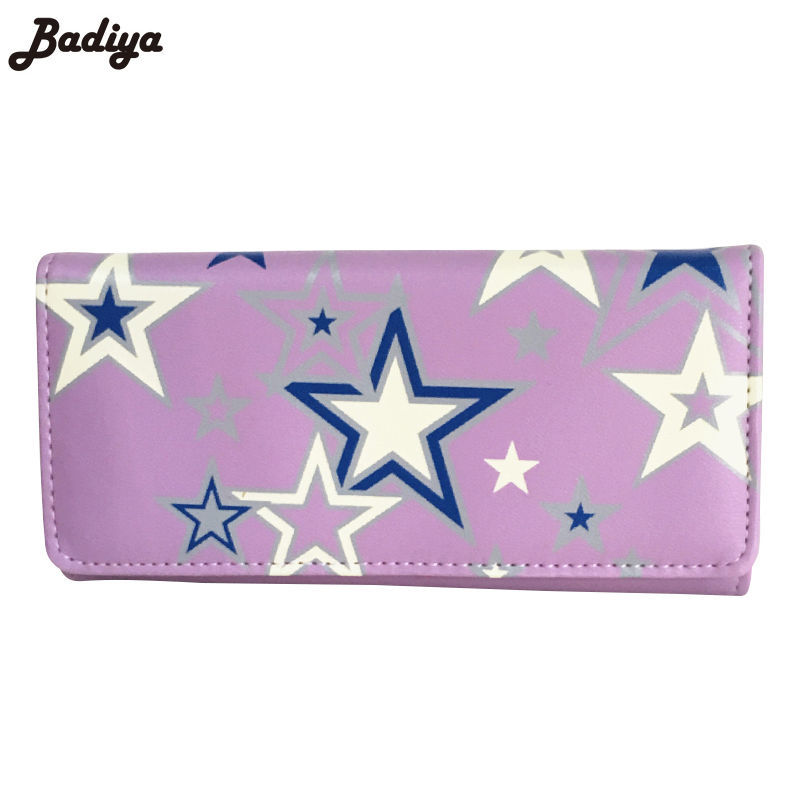 Large Capacity Famous Brand Wallets Card Holder Clutch Bag Fashion Women Long Purse Stars Printing PU Leather Bifold Wallet large capacity famous brand wallets card holder clutch bag fashion women long purse stars printing pu leather bifold wallet