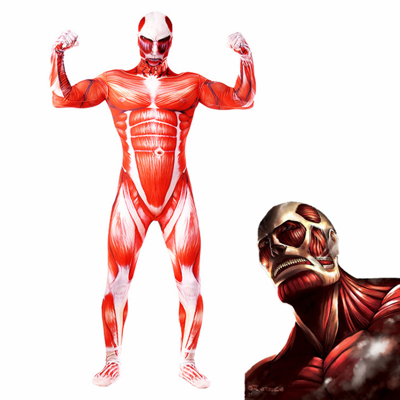 2019 Attack on Titan Colossal Titan Cosplay Costume Lycra Annie Leonha Gigantic Costume 3D Print Zentai Bodysuit Halloween Suit