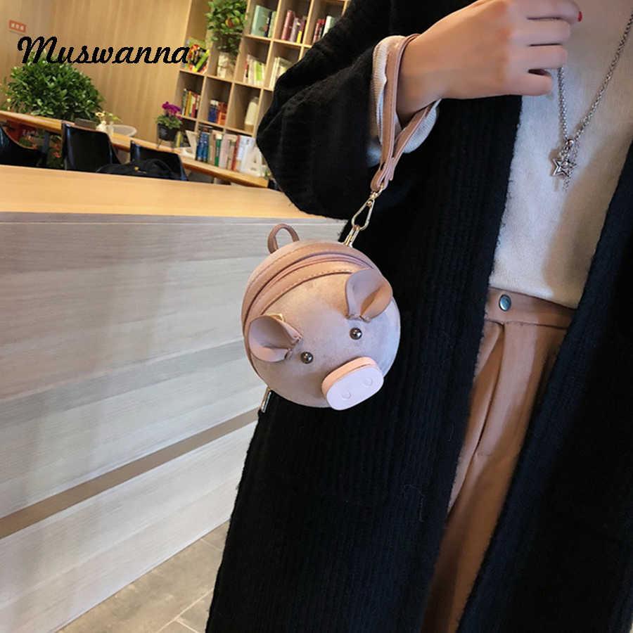 Корейская модная замшевая женская сумка свинья маленькая круглая сумка цепочка женская сумка через плечо сумка на запястье вечерние клатчи портмоне 2019