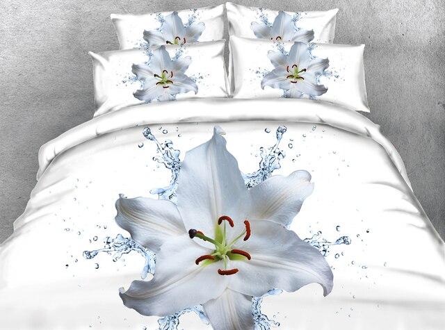 JF 078 Beautiful 3D White lily flower housse de couette Tencel ...