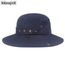 XdanqinX Adult Womens Anti-UV Bucket Hats 2019 Summer New Big Sun Visor Mens Beach Hat Wind Rope Fixed Protection Caps
