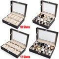 Коробка из искусственной кожи с решеткой для часов 10/12  держатель для часов  органайзер для часов  коробок для хранения ювелирных изделий со ...