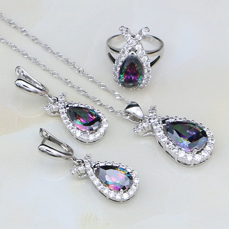 Bridal-Jewelry-Sets Rainbow Necklace/ring White Cubic-Zirconia Women 952-Sterling-Silver