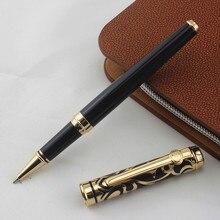 Aaa qualidade marca duke preto metal rolo bola caneta com caixa de papelaria escritório fino luxo escrita canetas bola presente