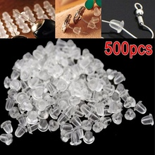 500pcs/lot Cheap Beads Jewelry Findings Delicate Accessories Bullet Plastic Ear Soft Silicone Rubber Earring Backs Plug Cap