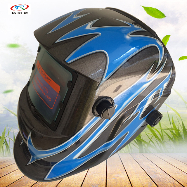 Custom Welding Helmets >> Us 13 49 Auto Darkening Custom Welding Helmet Black Blue Solar Power And Inner Battery Grinding Welding Mask Electronic Mig Hd39 2200de In Welding