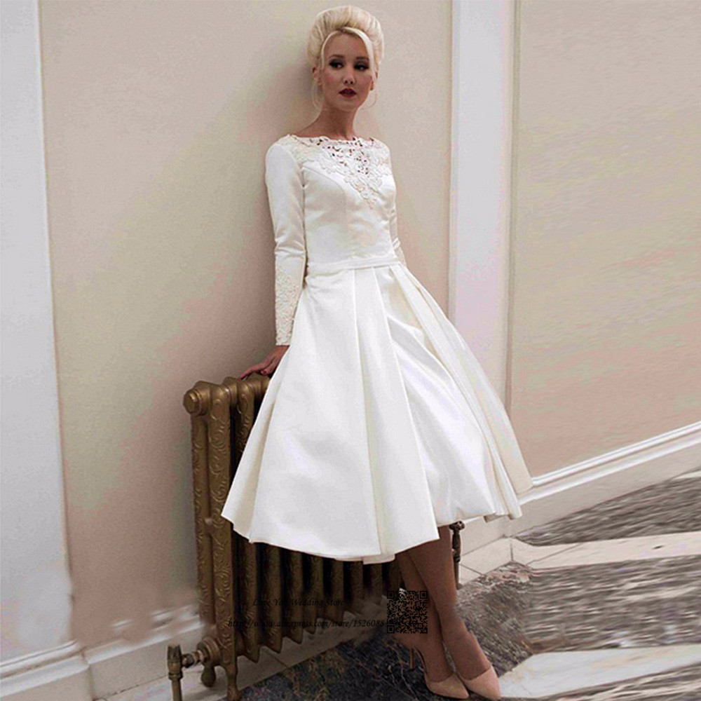 Vestido De Noiva Curto Vintage Knee Length Wedding Gowns