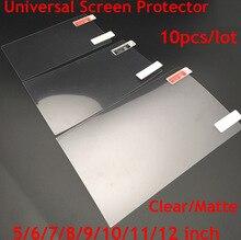 10 stks/partij Clear/Matte Screen Protectors Universal 5/6/7/8/9/10/ 11/12 Inch Beschermende Films voor Algemene Mobiele/Tablet/Auto GPS LCD