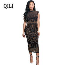 QILI Women Black Dress Mesh Sleeveless Dot Printed Mid-Calf Summer Bodycon Pencil Dresses Party Sexy Casual Long