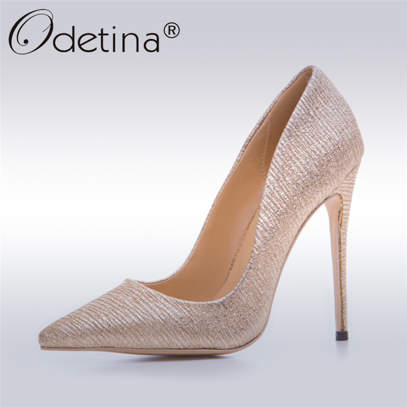все цены на Odetina 2017 New Fashion Ladies Pointed Toe Gold Pumps Glitter High Heels Stilettos Sexy Party Shoes For Women Big Size 33-43 онлайн