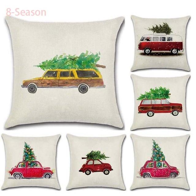45x45cm Christmas Bed Pillow Cover New Year Merry Christmas  Gift Cartoon pillowcase Cute Throw Pillows Case Party Decor
