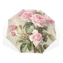 Винтажный потертый цветочный женский зонт от дождя, шикарный розовый тройной складной прочный портативный зонтик для девочки, автоматический дождевик