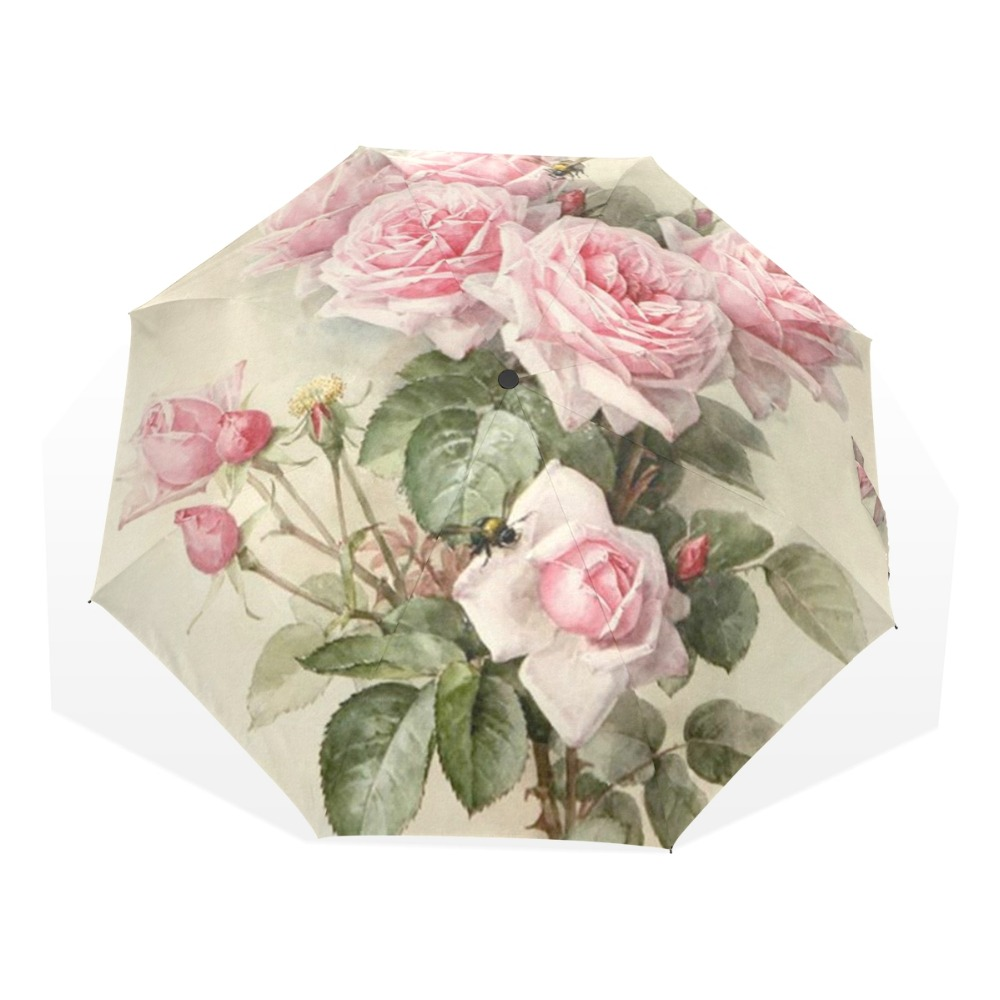 Vintage Shabby Floral Women Rain Umbrella Chic Pink Rose Three Folding Girl Duurzaam Portable Umbrellas Automatic Rain Gear