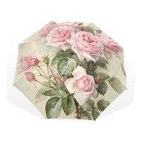 Vintage Shabby Floral Women Rain Umbrella Chic Pink Rose Three Folding Girl Durable Portable Umbrellas Automatic Rain Gear
