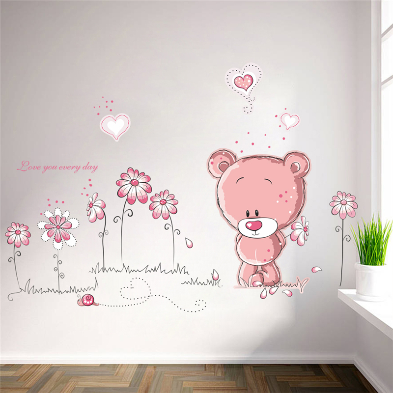 Cartoon Pink Bear Flower Wall Decals For Kids Rooms Home Decorations Pvc Wall Stickers Mural Art Wedding Decor Diy Posters