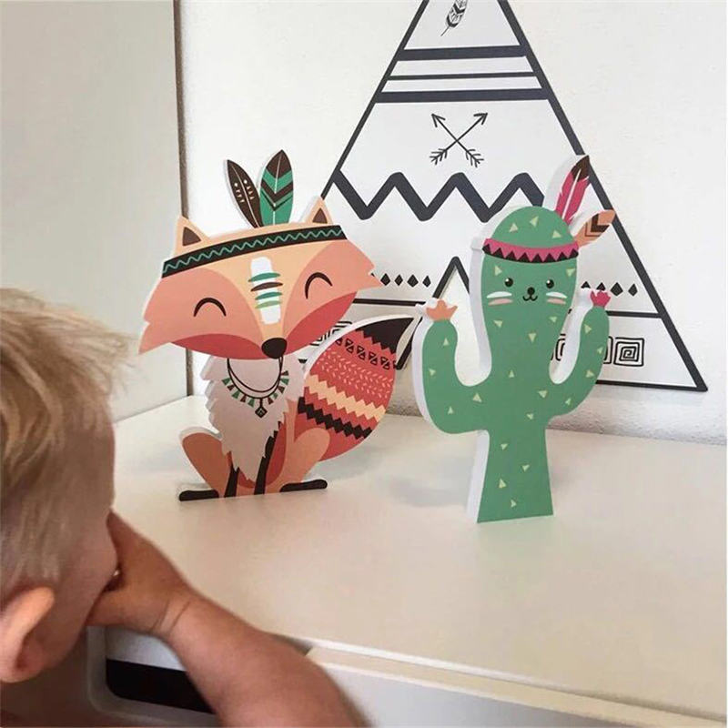 INS Nordic Wooden Wall Hanging Ornaments Cute Cactus Fox Shape Baby Kids Room Bedroom Wardrobe Desktop Wall DIY DecorationINS Nordic Wooden Wall Hanging Ornaments Cute Cactus Fox Shape Baby Kids Room Bedroom Wardrobe Desktop Wall DIY Decoration
