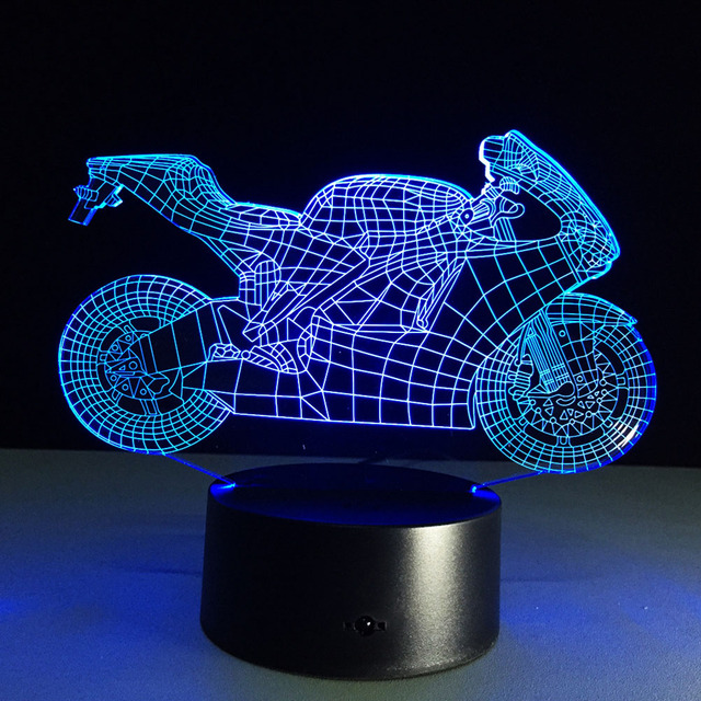 3D Lamp Visual Light Effect Touch Switch & Remote Control Colors Changes Night Light (Motorcycle)