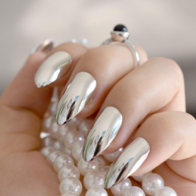 Metallic Mirror Stilettos Sharp False Nail Metal Silver Fake Nails Acrylic Artificial Stiletto Art Fuax