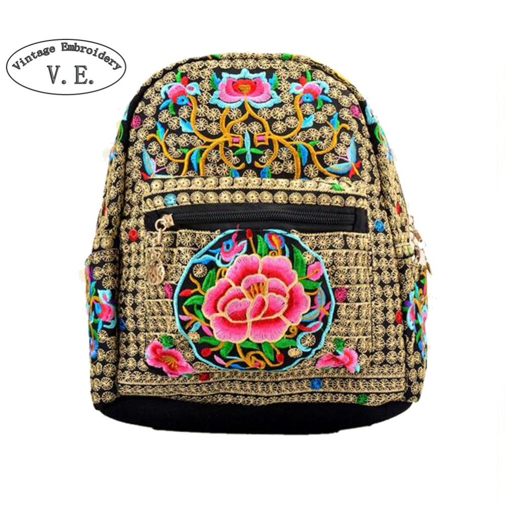 Vintage Embroidery Women Backpack Canvas Backpack Girls Female Travel Back Pack With Flower Embroidered Mochila Sac A Dos Bolsa chinese hmong boho indian thai embroidery brand logo backpack handmade embroidered canvas ethnic travel rucksack sac a dos femme