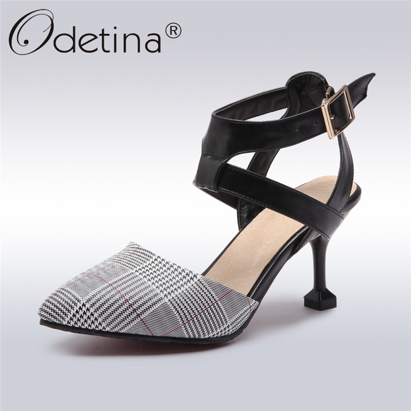Odetina 2018 New Fashion Slingbacks Pumps For Women Ankle Strap Pointed Toe Shoes Strange Style High Heels Buckle Elegant Pumps odetina 2017 new summer women ankle strap ballet flats buckle hollow out flat shoes pointed toe ladies comfortable casual shoes