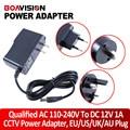 Qualified AC 110-240V To DC 12V 1A CCTV Power Supply Adapter,EU/US/UK/AU Plug ABS Plastic