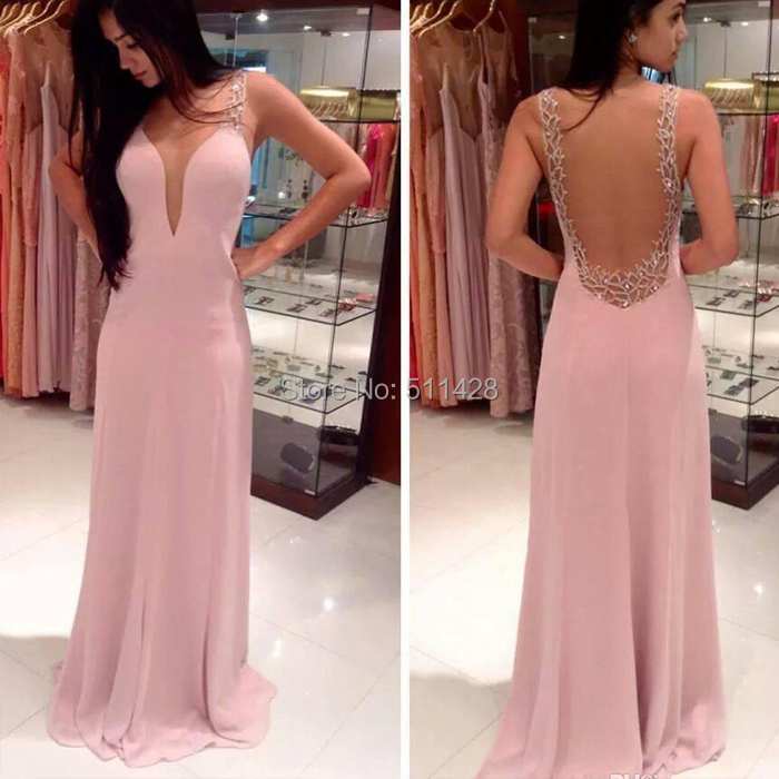 Sexy Chiffon Light Pink Prom Dresses Sheer Neck Elegant 2015 Sweep ...