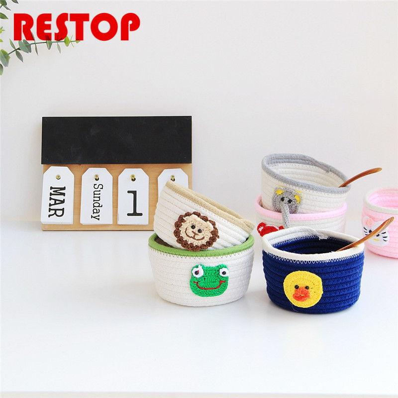 RESTOP Hot Sales Cartoon Cotton Knitting Desk Storage Box Holder Jewelry Cosmetic Stationery Organizer Case RES1037