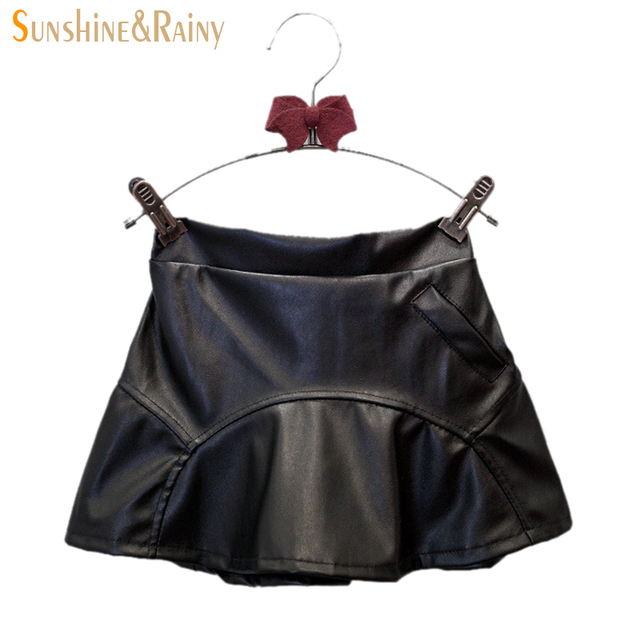 New Arrival Fashion Girls PU Leather Skirt 2016 Autumn Kids Hip Skirt Clothes Black Cool Girls Skirt Ruffles Baby Party Skirt