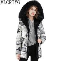 MLCRIYG Роскошные Натуральный мех кролика пальто Для женщин утка пуховик 2019 зимние теплые длинные с капюшоном Printted парки Плюс Размеры 3XL LX295