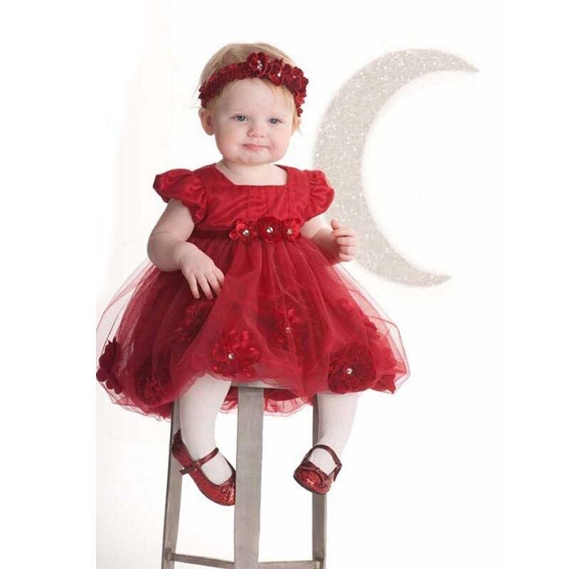 ms nuevo nio beb recin nacido vestido de ropa nios flor roja disfraz para los nios de la navidad del beb vestido headwear en vestidos de la madre y