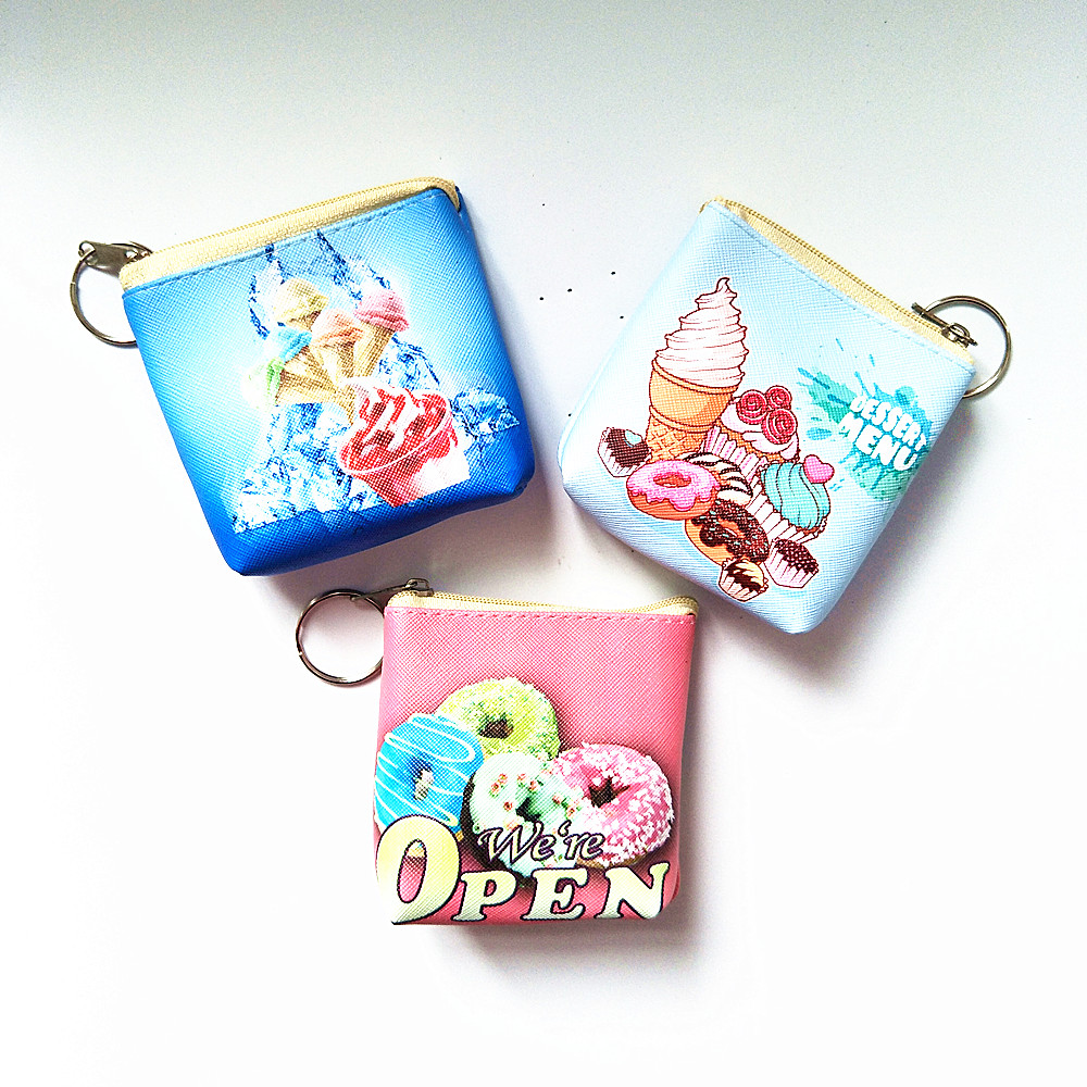 M042 2017 New Creative Women Purses Cute Cartoon Ice Cream Donuts PU Small Size Headset Line Coin Purse Key Buckle Bag