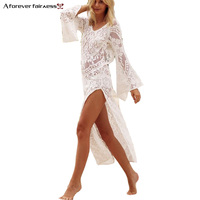 A Forever 2018 New Women Boho Maix Hollow Out Lace Patchwork V Neck Summer Casual Beach