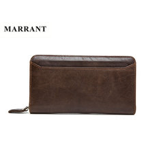 The 2016 New First Layer Of Real Leather Men's Oil Wax Retro High-Capacity Multi-Card Bit Long Wallet Clutch Men Genuine 9083