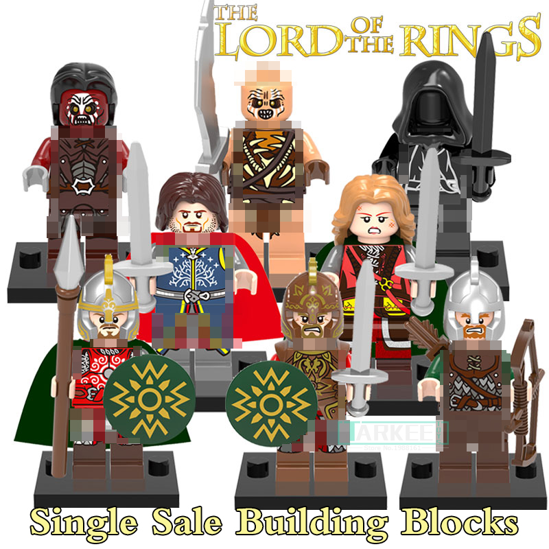 Single sale Building Blocks Uruk Hais Mordor Orc The Lord of the Rings Hobbit Aragorn diy figures Super Heroes Star Wars X0142 single sale medieval castle knights dragon knights the hobbits lord of the rings figures with armor building blocks brick toys
