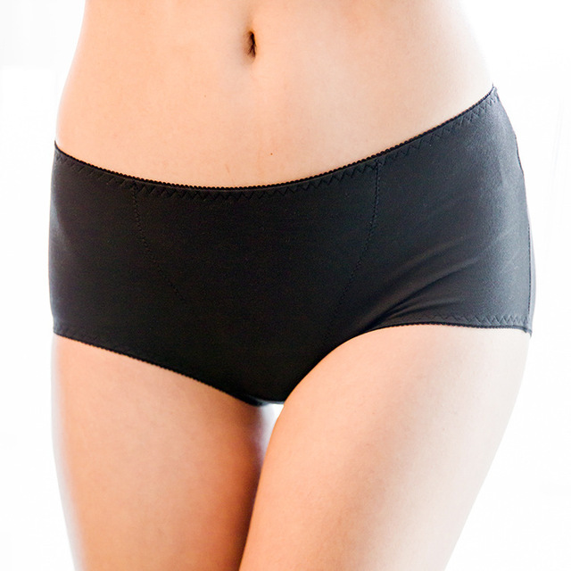 Healfiber By Far Infrared-red seamless Antibacteria Soft and comfortable Mid-Rise woman Black Warm uterus panties XDNV001