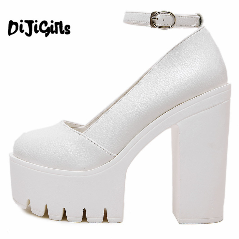 Free Shipping 2017 New Spring Autumn Ladies Footwear Casual Thick Heels Pumps Women Platform Shoes Black and White Size 35-39