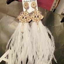 Baroque crystal pearl Flowers white feather long Tassel earrings Bohemia wedding jewelry for women girl