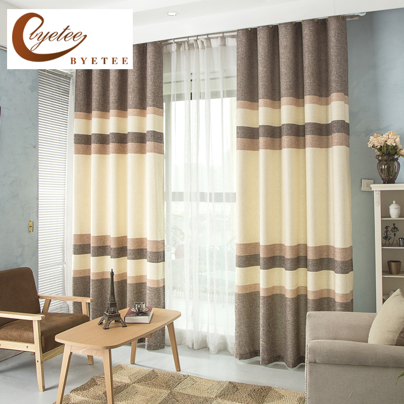 [byetee] Cotton And Linen Printing Curtain Fabrics Kitchen Blackout Curtains Doors For Bedroom Living Room
